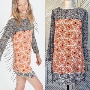 Zara Black & Orange Geo Fringe-Trim Shift Dress